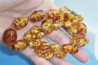 24 Chunky Sommerso Murano Glass Bead Necklace Root Beer Amber  Aventurine