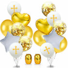 Happy Easter Cross Latex Balloon Foil Baptism Christening Communion Decorations