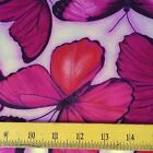 Studio e Fabrics Large Red Pink Butterflies on Pale Lavender for Quilts Pillows