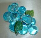 Vintage AQUA BLUE Hand Blown Art Glass Wired Grapes Cluster w Leaves Murano