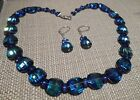 Swarovski Pagoda 5107 Vintage Bermuda Blue Necklace  Earrings Hand Made USA