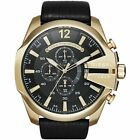 Diesel DZ4344 Mega Chief Black and Gold Leather Chronograph Mens Watch