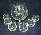 Cocktail Pitcher w 6 Lowball Glasses Wheat Pattern Javit Crystal Vtg 1940/50's