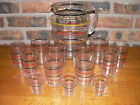 Vintage 14 Piece Striped Clear Glass Pitcher Set Unsigned Early to Mid Century