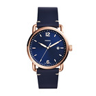 Fossil Men's The Commuter FS5274 Gold Navy Leather Japanese Quartz Dress Watch
