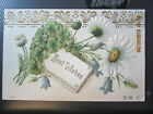 vintage postcard BEST WISHES bouquet of DAISIES w CLOVER used w stamp 1907