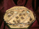 Vtg 3 Section Divided Relish/Candy Glass Dish W/Silver Overlay Leaves-11