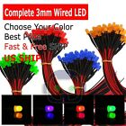 Red White Green Blue Orange 3mm Pre Wired Cabled 9 12Volt LED Built in Resistor