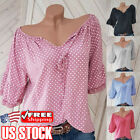 Plus Size Womens V Neck Polka Dot Short Sleeve T Shirt Casual Loose Blouse Tops
