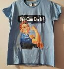 We Can Do It Rosie Riveter Ladies Short Sleeve Shirt Baby Blue Large Cotton