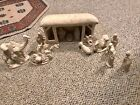 CERAMIC BISQUE READY TO PAINT 17 PIECE LIGHTED NATIVITY SET WITH STABLE