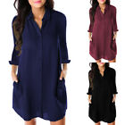Womens Long Sleeve Blouse Button Down Shirt Mini Dress V Neck Casual Loose Top