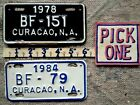 CURACAO License Plate Tag 1978 or 1984 PICK ONE Motorcycle Moped