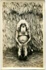 1930s Native Kahuna Medicine Man Grass Hut ca 1910s TH Hawaii AZO RPPC
