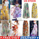 Ladys Fashion Chiffon BOHO Ladies Floral Gypsy Long Maxi Full Skirt Sundress US