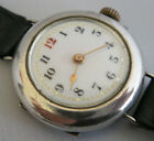 Early 1900's TRENCH STYLE WATCH, Sterling Silver, Runs Well, Good Vintage Cond.