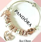 Authentic Pandora Bracelet Rose Gold MOM Heart Flower with European CharmsNew