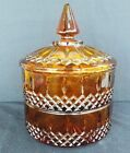 INDIANA AMBER GLASS PRINCESS PATTERN 3pc STACKING CANDY DISH