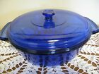 ANCHOR HOCKING  2 Qt  Round Casserole with Lid  Blue  XLNT