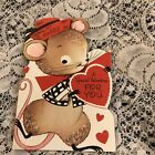 Vintage Greeting Card Valentine Mouse Rust Craft Hat Cute