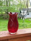 Heavy TELEFLORA Deep Red Glass Vase A Must Have