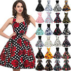 Womens 50s Floral Vintage Pin Up Evening Party Wedding Rockabilly Swing Dress