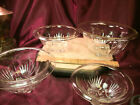 FEDERAL GLASS FOOTED CLEAR STAR PATTERN NEST OF 4 ROLLED RIM MIXING BOWLS-F/Ship