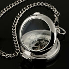 Mens Pocket Watch Mechancial Silver Case Hand winding Skeleton Fob Chain Luxury