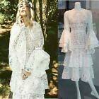 Sexy Romantic Hollow Lace Ruffle Dresses Double Wavy Edge Bell Sleeve Dresses SZ