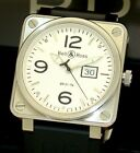 BELL & ROSS STAINLESS STEEL GRANDE DATE WATCH BR01-96-S 46mm MINT BOX & PAPERS