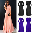 Women Chiffon 3/4 Sleeve Maxi Dress High Waist Cocktail Evening Party Ball Gown