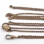 Vtg Victorian Gold Filled Pearl Slide Charm Long Antique Pocket Watch Chain QYE5
