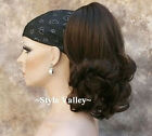 Medium Brown Ponytail Extension Hairpiece Curly Claw  clip in on Hair Piece #6