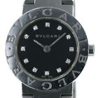Auth Bulgari BVLGARI BB23S 12P Diamond Quartz Black Ladies watch sa mo