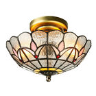 2 light Stained Glass Tiffany Style Ceiling Light Loft Flush Mount Lamp Fixture