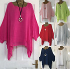 Plus Size Womens Loose Blouse Linen Solid O Neck Ruffle Tops 3 4 Sleeve Shirt
