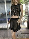 LIM'S Vintage Sleeveless Hand Crochet Top and Mini Skirt Set Black One Size M