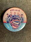 Vintage Columbia STS 61 C Mission Crew Photo Button Pin Collectable Memorabilia