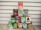 VINTAGE LOT OF 13 1 QUART OIL CANS METAL NR! MOBIL TEXACO PHILLIPS 66 QUAKER ST.
