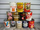 VINTAGE LOT OF 12 1 QUART OIL CANS NICE NR! SHELL TEXACO MOBIL UNICO MORE!