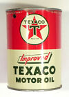 TEXACO MOTOR OIL 1 Quart Can & 8 oz Chrome Polish Advertising Tins Gas Station