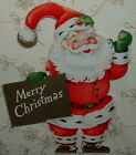 UNUSED Gold Accents Dbl Sided Santa 50s Vintage Christmas Ornament Card