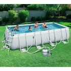 Swimming Pool Set w Sand Filter Pump Ladder Pool Cover Ground Cloth 18 x 9
