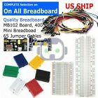 Breadboard MB 102 Power Supply 65Pcs Jumper Cables Wires 170 400 830 Tie Points
