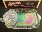 FEDERAL GLASS SNACK SET. IRIDESCENT. 8 PC. WITH BOX. S A 99