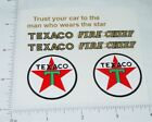Buddy L Texaco Fire Chief Fire Truck Stickers   BL-097