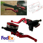Pair Motorcycle CNC Aluminum Red Hydraulic Brake Clutch & Lever Master Cylinder