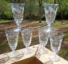 6 Libbey Rock Sharpe 3005-15 Floral Footed ICED TEA TUMBLERS Glasses 1/w Nick NR