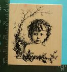 CHILD with VICTORIAN BOTANICAL BORDER Rubber Stamp by Stampa Rosa