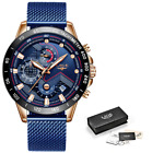 Top Watch Mens Watches Blue Casual Mesh Belt Fashion Quartz Gold New